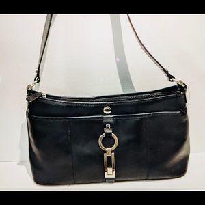 ETIENNE AIGNER Bag Black Lovely Leather Pewter EUC
